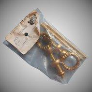 Vintage Brass Pulls Bolts Finials 1960s Original Packaging Laurel Wreath Form