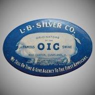 Advertitising Pocket Mirror Vintage O I C Swine Hog Pig L. B. Silver Co. Cleveland OH