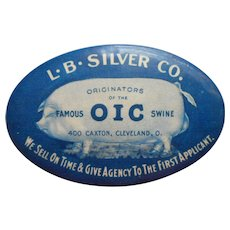 Advertitising Pocket Mirror Vintage O I C Swine Hog Pig L. B. Silver Co. Cleveland OH