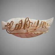 Cathryn Name Pin Vintage Mother Of Pearl Carved Leaf Name Pin Gold Colored Wire
