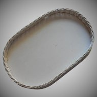 Vintage Wicker Wood Tray Painted Creamy White