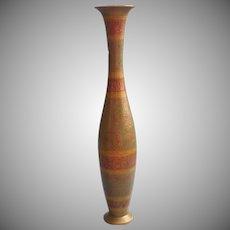 Vintage India Brass Vase Colored Engraved Tall Slender