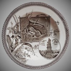 1884 Aesthetic Transferware Bowl Brown China Lion Of Lucerne The World Antique