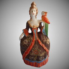 1920s Wall Pocket Japan  French Court Lady Parrot Hand Painted China