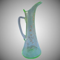 Victorian Blown Bohemian Glass Slender Champagne Pitcher Antique Green Enameled