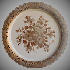 Vintage Tole Tray Lacy Pierced Rim Cream Gold Signed Anatole Metal