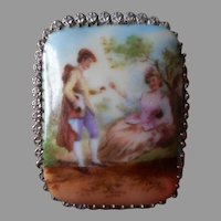 1920s Czech Brooch Pin Brooch Porcelain China Vintage Courting Scene