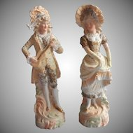 Pair Bisque Figurines Vintage Lord Lady Sweet Faces Blonde 18th Century Dress
