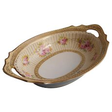 1920s Hand Painted Pink Roses Gold Noritake China Serving Bowl - Red Tag Sale Item
