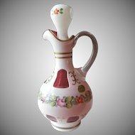 Czech Bohemian Cased Overlay Cranberry Cruet Vintage Hand Painted Flowers