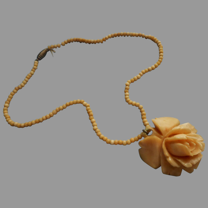 1930s Carved Bone Rose Necklace Beads Vintage Mercy Maude Ruby Lane