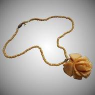 1930s Carved Bone Rose Necklace Beads Vintage