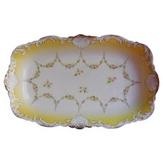 Big Antique China Serving Bowl Rectangular Yellow White Gold Carlsbad - Red Tag Sale Item