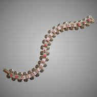 Vintage Pink Painted Souvenir Bracelet Statue Of Liberty Roses