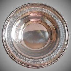 Vintage Pierced Rim Silver Plated Large Bowl Fruit Serving Centerpiece