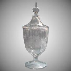 1920s Candy Jar Pedestal Vintage Urn Shape Stripes Flowers Cut Decoration