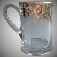 1910s Sterling Silver Overlay Pitcher Antique Glass For Cream or Use For Syrup