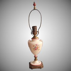 Vintage China Lamp Pink Cream Flowers Ornate Metal Base 1930s 40s