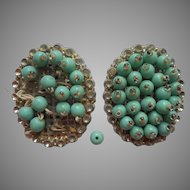 Vintage 1930s Dress Clips Pair Turquoise Color Glass Beads TLC