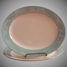 1950s Turquoise Melody Vintage Pair Platters Homer Laughlin China Cavalier Platter