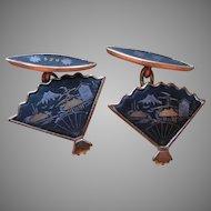 Damascene Cufflinks Ladies Vintage 24K Plate Fan Shape Japan