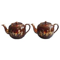 Pair Gibson Tortoise Glaze Gold Teapot Vintage Teapots Brown English China