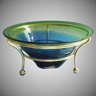 Vintage Pilgrim MCM Art Glass Fruit Bowl In Frame Stand Blue Green