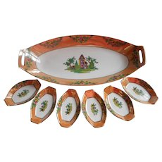 1920s Noritake Nut Set Vintage China Luster Petit Point Motifs Use For Butter Pats - Red Tag Sale Item