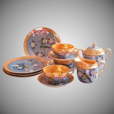 1920s Luster China Partial Tea Set Vintage Hand Painted Japan Cups Saucers Plates Etc