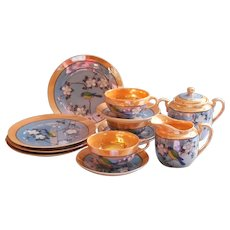 1920s Luster China Partial Tea Set Vintage Hand Painted Japan Cups Saucers Plates Etc