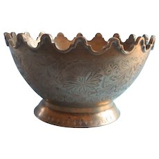 Vintage Brass Bowl Ornate Applied Rim Engraving Footed India