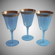 Vintage Rambler Rose Gold Encrusted Wine Water Glasses 3 Stemware
