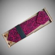 Vintage Tie Cufflinks Pocket Square Set Hot Pink Black Silk Print