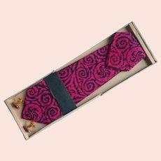 1960s Tie Cufflinks Pocket Square Set Vintage Hot Pink Black Silk Print