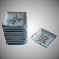 Victorian Butter Pats Set 11 Antique China Square Registry Dated 1884 1900