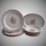 Vintage Pink Cottage China Flowered Lacy Gold Plates Etc Knowles 1920s to 1940s