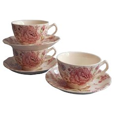 Rose Chintz Vintage Johnson Brothers England 3 Cups 3 Saucers