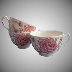 Rose Chintz Vintage Johnson Brothers England 3 Cups Only