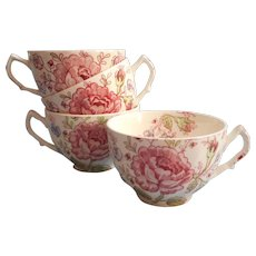 Rose Chintz Vintage Johnson Brothers England 4 Standard Cups Only