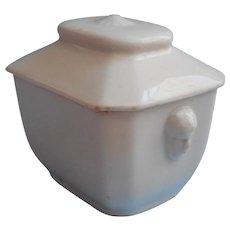 French Ironstone Sugar Box Antique Bowl Lid Female Head Handles - Red Tag Sale Item