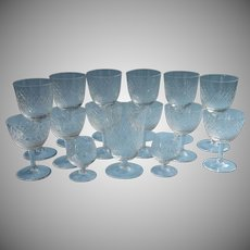 Cut Crystal Stemware Diamond Crosshatching Vintage Glass Cocktail Wine Glasses