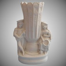 Victorian Parian Vase Lute Player Girl With Tambourine Antique Figural