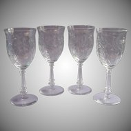Vintage Cut Glass Wine Water Goblets 4 Floral