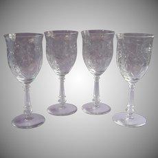 Vintage Cut Glass Wine Water Goblets 4 Floral