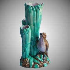 Antique Majolica Vase English Pottery Bird In Rushes Three Tube