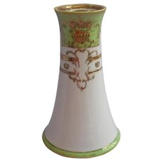 1920s Hatpin Holder Noritake Hand Painted Green White Gold Vintage - Red Tag Sale Item