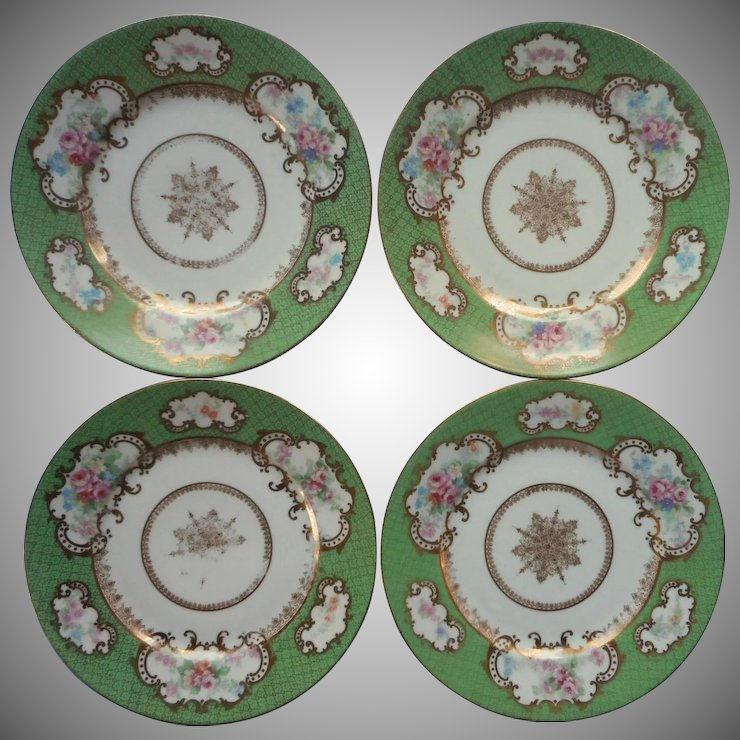Bernardaud Limoges France 4 Plates Antique Green Gold Pink Roses For Higgins Seiter China & Bernardaud Limoges France 4 Plates Antique Green Gold Pink Roses ...
