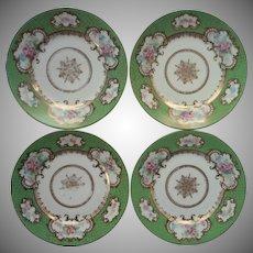 Bernardaud Limoges France 4 Plates Antique Green Gold Pink Roses For Higgins Seiter China
