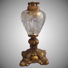 Cut Glass Ormolu Table Lighter Vintage Ornate Metal Crystal