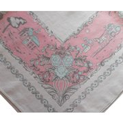 Pink Aqua Vintage Printed Kitchen Tablecloth Linen Blend 1950s 60s Print